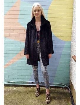 vintage-black-fake-fur-coat by no-brand-name