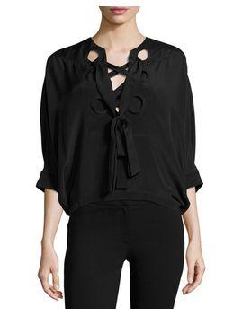 silk-batwing-tie-neck-top,-black by derek-lam