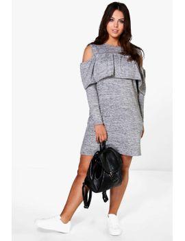 plus-tammy-ruffle-open-shoulder-sweat-dress by boohoo