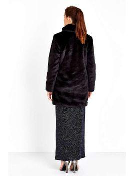 black-faux-fur-midi-coat by wallis