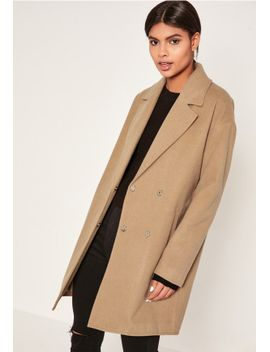 camel-drop-shoulder-double-breasted-faux-wool-coat by missguided