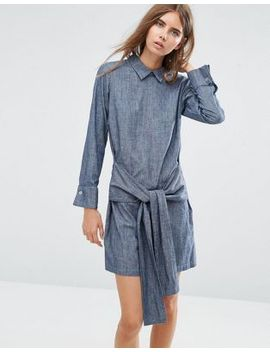 asos-denim-tie-front-shirt-dress-with-button-back by asos-collection