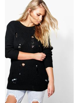 plus-rosa-distressed-knitted-jumper by boohoo