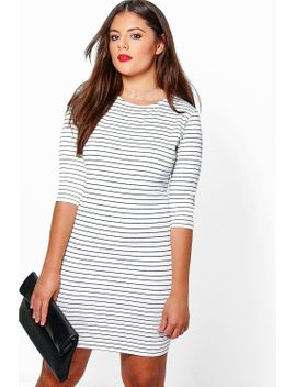 plus-lily-stripe-bodycon-dress by boohoo