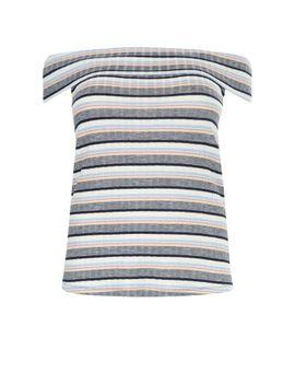 curves-–-blau-gestreiftes,-geripptes,-schulterfreies-oberteil by new-look
