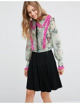 asos---blusa-con-stampa-di-fiori-e-uccelli-e-pieghe-a-contrasto by asos