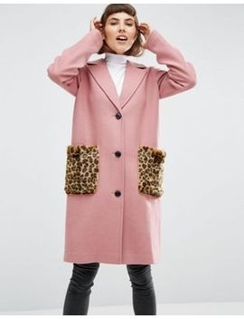 asos-coat-in-wool-blend-with-faux-fur-leopard-pockets by asos-collection