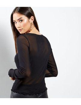 black-mesh-frill-hem-long-sleeve-top by new-look