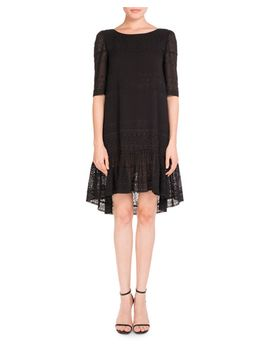 half-sleeve-eyelet-flutter-dress,-black by saint-laurent
