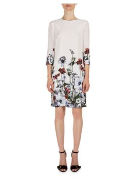 emma-3_4-sleeve-floral-print-dress,-white_red by erdem