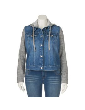 juniors-plus-size-mudd®-hooded-knit-&-denim-jacket by kohls