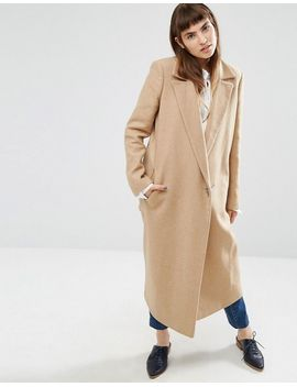 asos-wool-blend-premium-coat-in-midi-length-and-metal-fastening by asos-collection