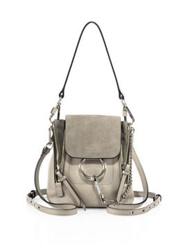 medium-faye-leather-&-suede-backpack by chloé