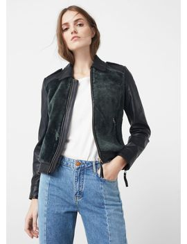 fur-panel-leather-jacket by mango