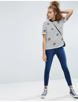 asos-t-shirt-with-star-badges-and-stripe-in-longline-fit by asos-collection