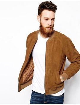 asos-suede-bomber-jacket-in-tan by asos