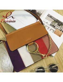new-fashion-hit-color-stitching-stripes-metal-ring-buckle-womens-shoulder-bag-envelope-bag-clutch-bag-acrossbody-messenger-bag by ali-express