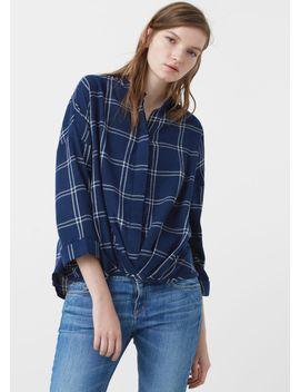check-cotton-blouse by mango