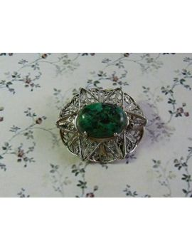 a-really-superb-vintage-jewelry-brooch-hand-made-in-filigree-openwork-935-silver-and-set-with-a-green-mottled-agate-cabochon-stone by vintagejewelleryetc