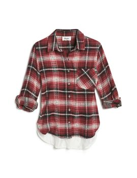 lace-back-dobby-weave-flannel-shirt by maddie
