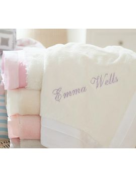 linen-sateen-trimmed-faux-fur-baby-blankets by pottery-barn-kids