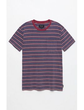 brixton-hilt-indigo-blue-striped-pocket-t-shirt-at by brixton