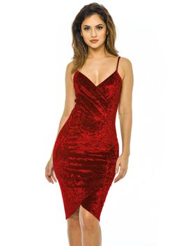 red-velvet-bodycon-dress-with-wrap-front by ax-paris