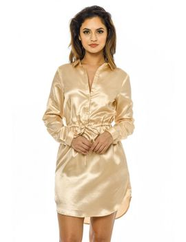 gold-satin-shirt-dress-with-tie-waist by ax-paris