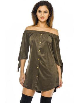 khaki-suede-off-the-shoulder-shift---dress by ax-paris