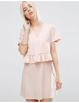 asos-short-sleeve-double-layer-ruffle-dress by asos-collection