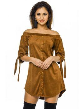 tan-suede-off-the-shoulder-shift-dress by ax-paris