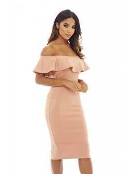 blush--off-the-shoulder-frill-bodycon-midi-------------------dress by ax-paris