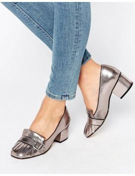 office-monty-buckle-fringe-metallic-mid-heeled-loafers by office