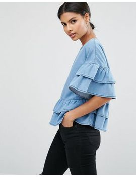 asos-denim-tiered-top by asos-collection