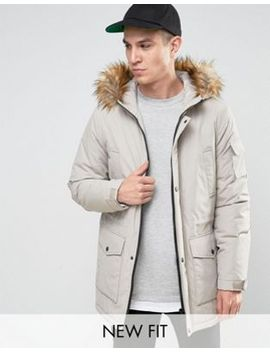 asos-parka-jacket-with-faux-fur-trim-in-stone by asos