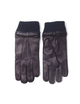 leather-gloves-with-cashmere-knit-inset---navy by bottega-veneta