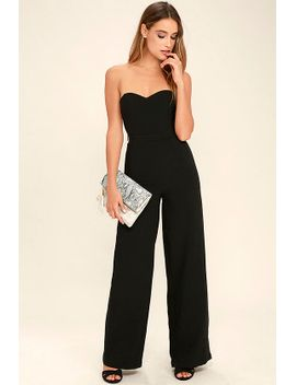 pop-life-black-strapless-jumpsuit by lulus