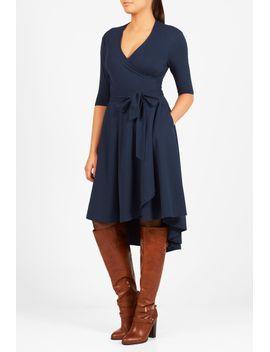 high-low-hem-cotton-knit-wrap-dress by eshakti