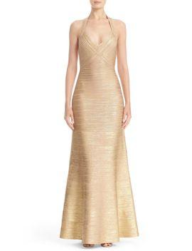 woodgrain-metallic-foil-halter-gown by herve-leger