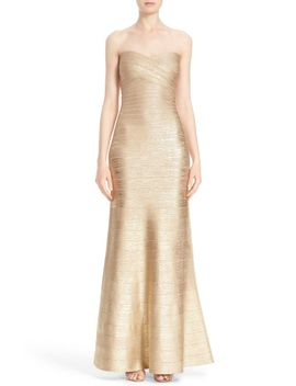 strapless-foiled-bandage-gown by herve-leger
