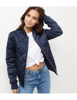 tall-navy-diamond-quilted-bomber-jacket by new-look