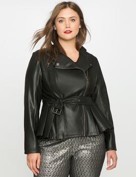 cinched-waist-faux-leather-jacket by eloquii