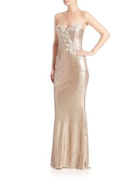 strapless-sequined-long-gown by marchesa-notte