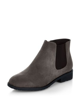 wide-fit-grey-suedette-chelsea-boots by new-look