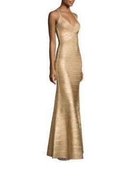 foiled-halter-column-gown by herve-leger