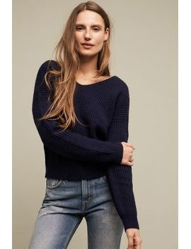 ribbed-twist-back-pullover by anthropologie