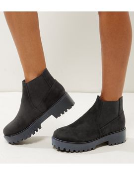 wide-fit-black-suedette-chunky-chelsea-boots by new-look