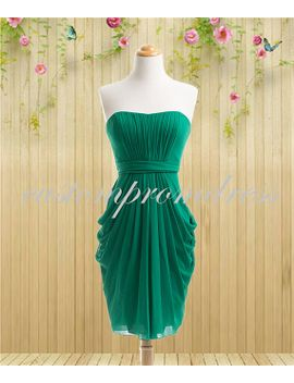 green-chiffon-bridesmaid-dress,short-bridesmaid-dress,chiffon-prom-dress,wedding-party-dress,short-prom-dress-custom-for-buyer-df0704 by custompromdress
