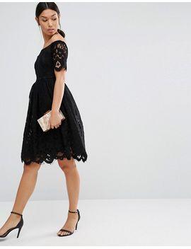boohoo-lace-bardot-skater-dress by boohoo