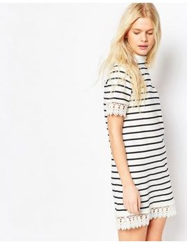 asos-high-neck-dress-in-stripe-print-with-lace-trim by asos-collection